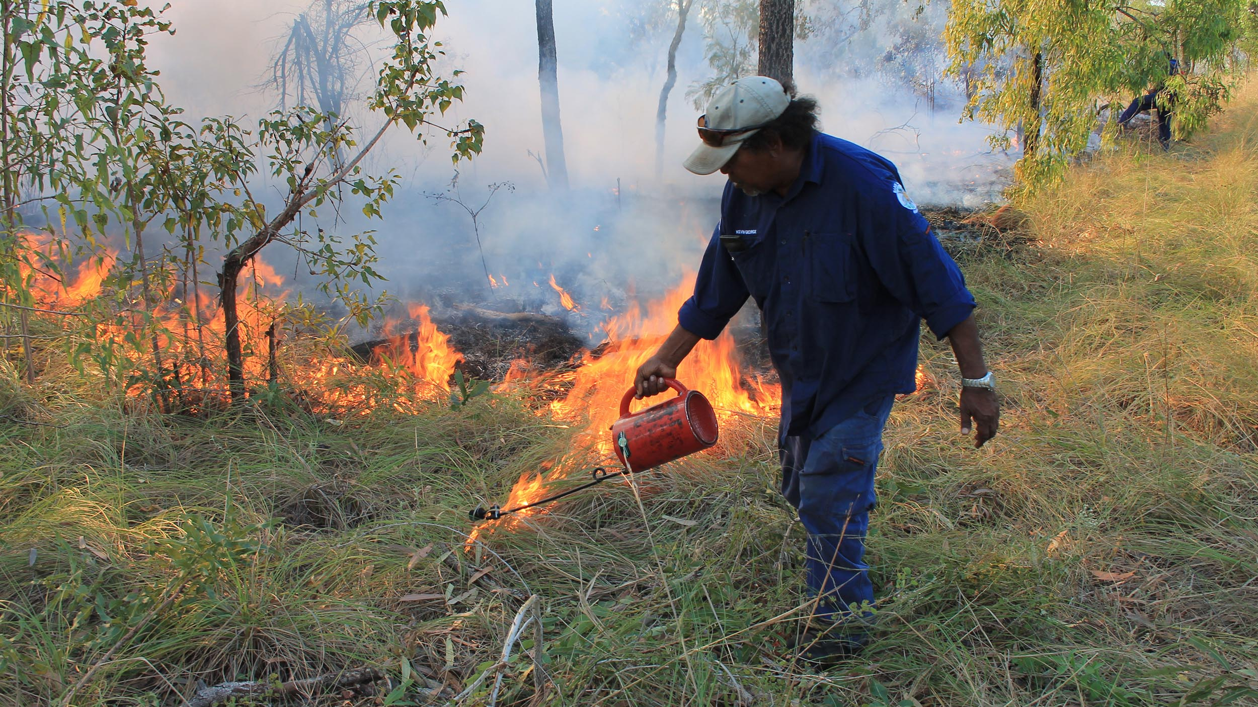 Bardi Jawi Rangers from One Arm Point on the Kimberley coast conduct burning early in the dry season, producing significant environmental benefits.
