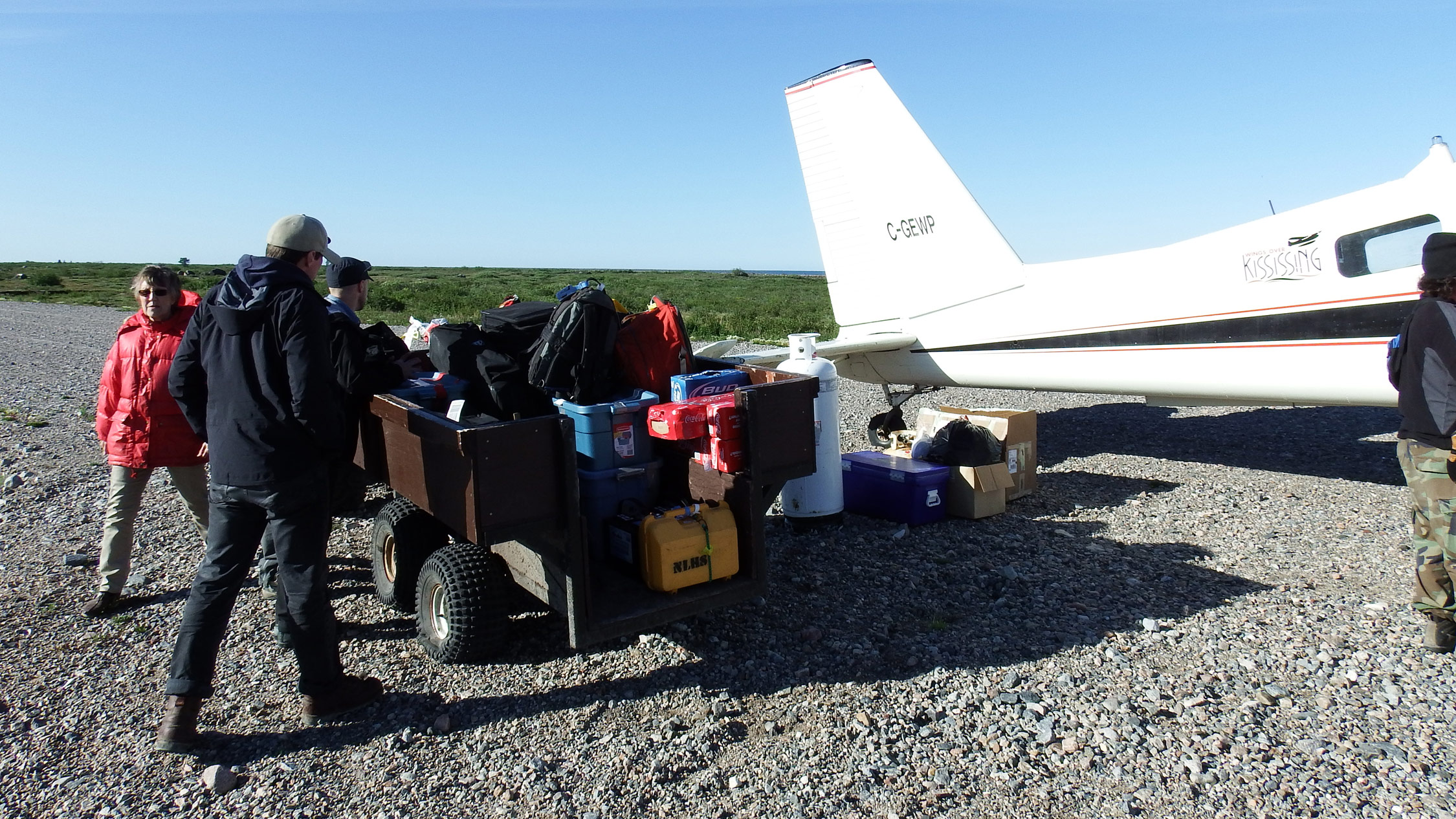 Loading up the field gear in Churchill, Manitoba