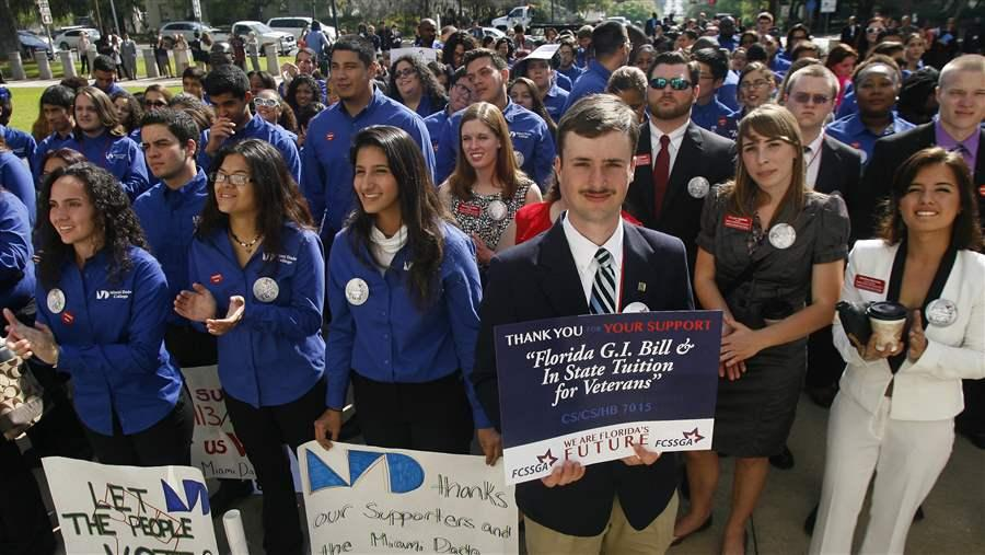rally for in-state tuition for veterans