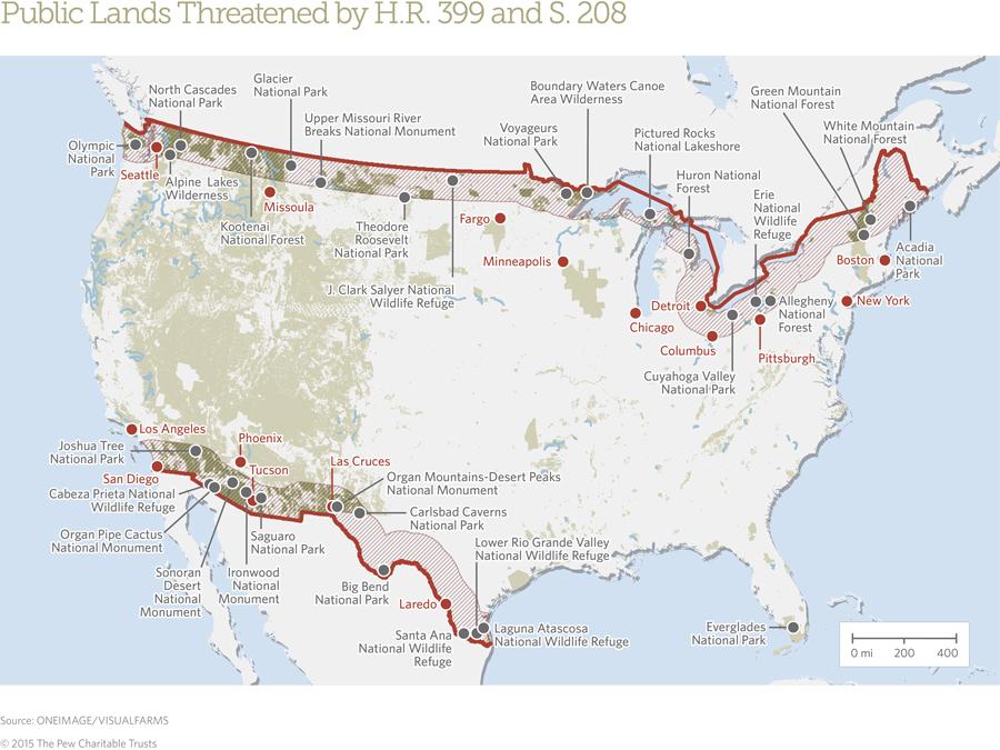 New Bills Threaten National Parks Wilderness Wildlife Refuges - Us border with canada map