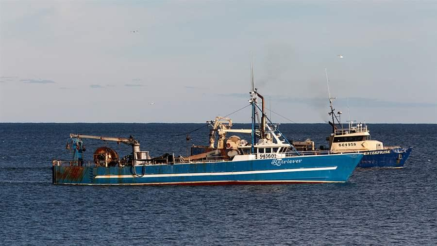Mid-water trawl vessels are some of the largest fishing boats on the East Coast. These boats were fishing close to shore in Rhode Island state waters.