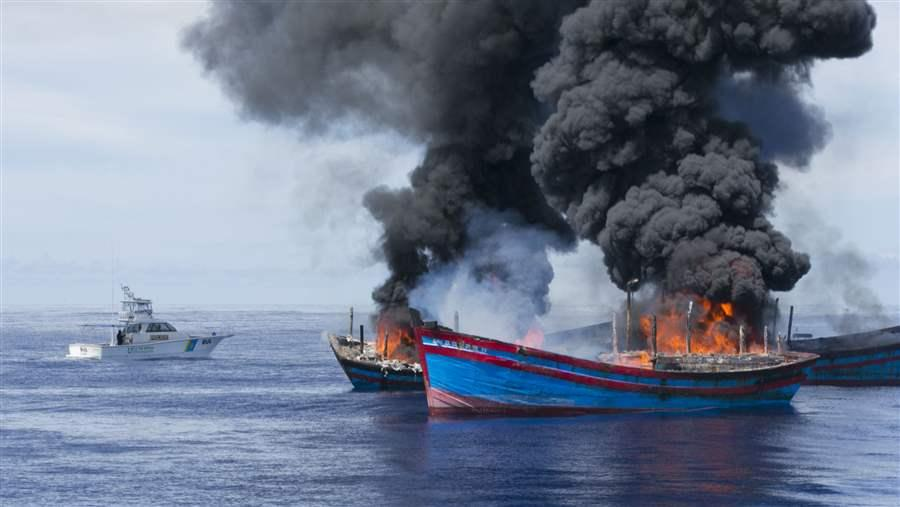 burning illegal fishing boats in Palau