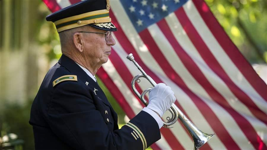 Army bugler with US flag in the background