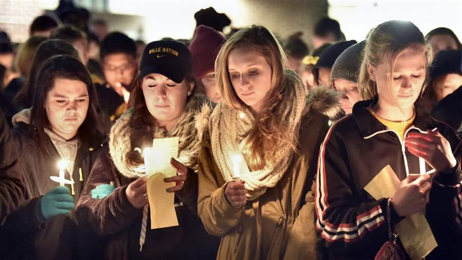 Millersville University students attend a candlelight vigil