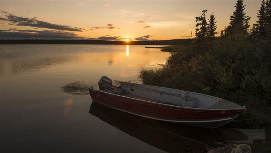 Great Bear Lake Boat and Sunset