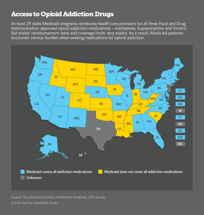 Access to Opioid Addiction Drugs U.S. map