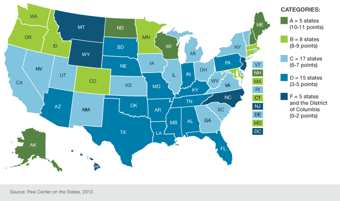 Most States Lag On Dental Sealants Pew Center On The States - Map of us dental schools