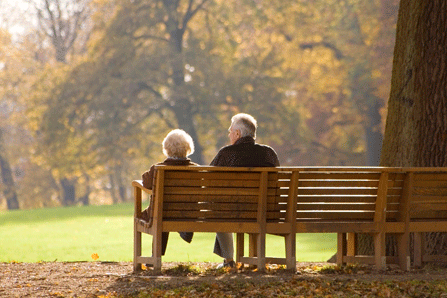 elderly couple seated on a park bench