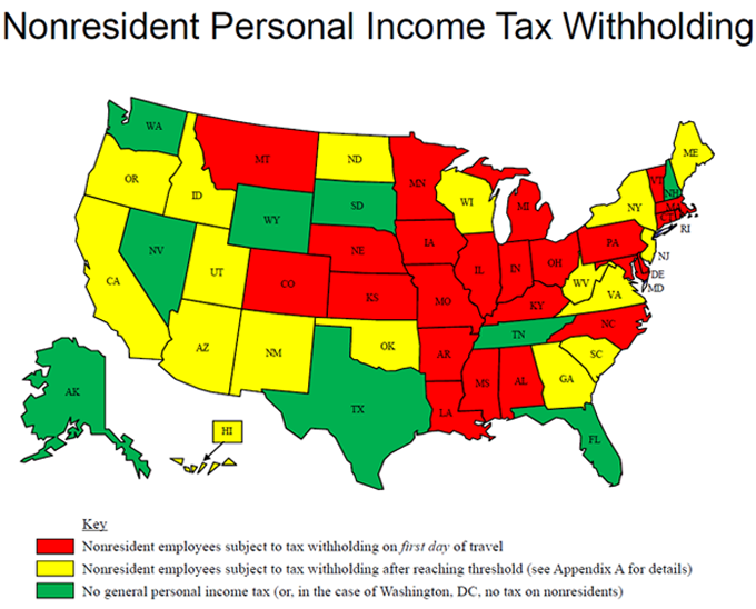 How States Tax Road Warriors Who Live In One State Work In Another - States with no income tax map
