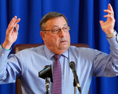 Maine Governor Paul LePage at a press conference on cuts to Maine's Medicaid program
