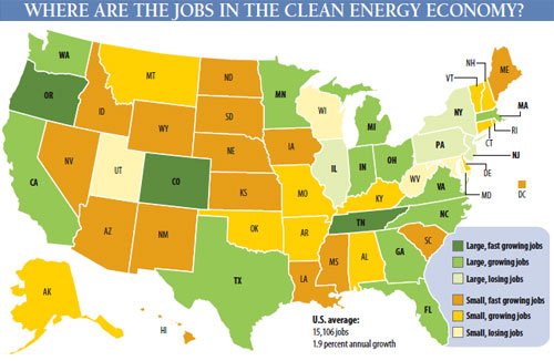 The Clean Energy Economy State By Pew Environment Group: Map Of Us State Economies At Usa Maps