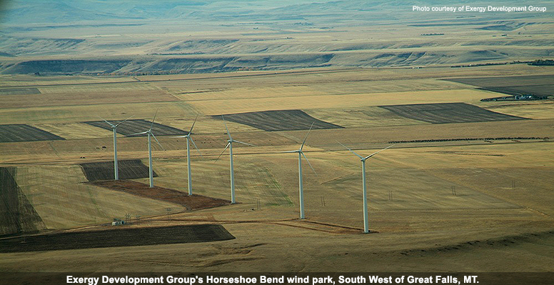 Exergy Development Group's Horsehoe Bend wind park, South West of Greast Falls, MT.