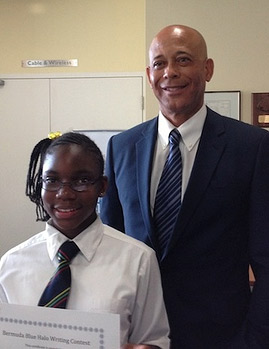 Gabrielle Reid with Environment Minister the Hon. Sylvan Richards J.P. M.P.