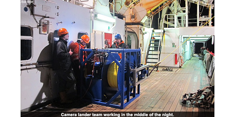Camera lander team working in the middle of the night.