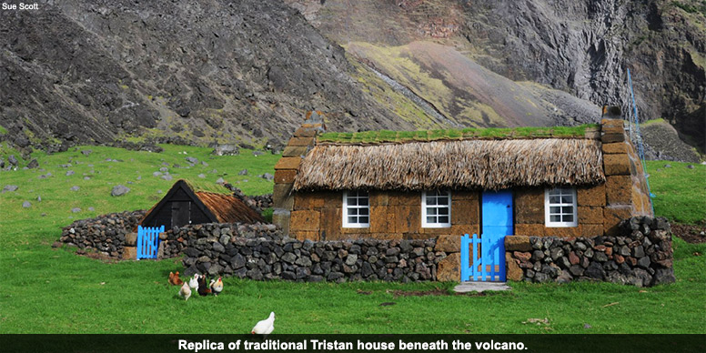 Replica of traditional Tristan house beneath the volcano.