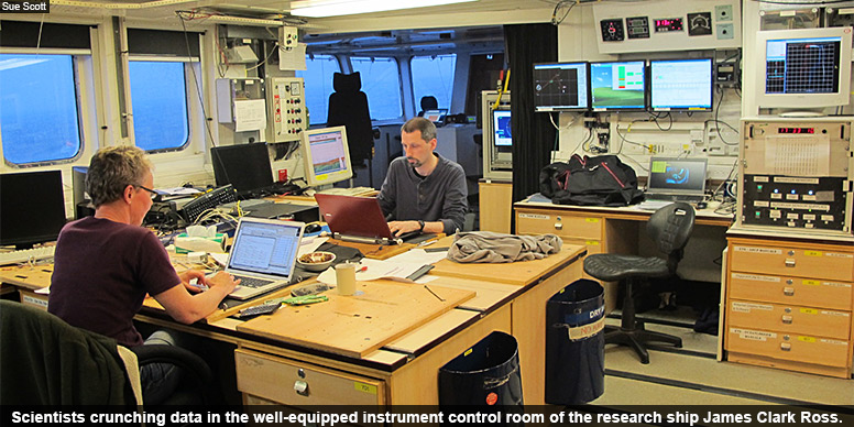 Scientists crunching data in the well-equipped instrument control room of the research ship James Clark Ross.