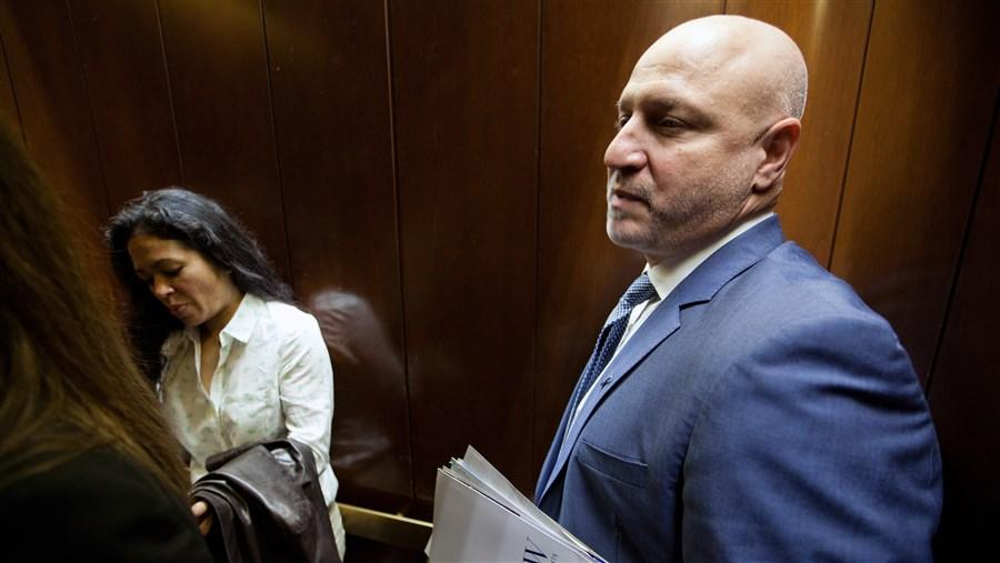 Superchef advocates Maria Hines, of Seattle, and Tom Colicchio, of New York, leave the office of Sen. Dianne Feinstein (D-Calif) in Washington, DC, on April 23, 2013.